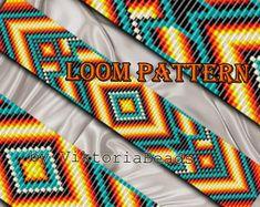 Bead loom pattern Bracelet Native American Square stitch Geometric Beading pattern Beadwork seed beads Delica