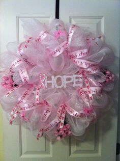 Breast Cancer Deco Mesh Wreath. $65.00, via Etsy.