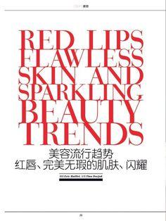 """Red Lips, Flawless Skin & Sparkling Beauty Trends""  2015 Spring/Summer  SKP Magazine #EstherHeesch"