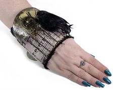 Steampunk Textile Cuff Hardcore GOTHIC Wrist Cuff by edmdesigns