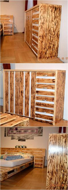 Let us start with the pallet powdered bedroom idea, everything in a bedroom made up of pallet looks nice as it seems like the bedroom is decorated with the furniture set. The closet, bed and side tables are main things in a bedroom, which if created with wood pallets can make the room appealing.