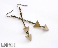 leather triangle earrings geometric earings tan by Barker Wild barkerwild.com