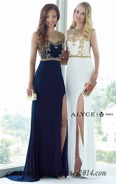 Alyce Paris 6361 Beaded High Neck Slit Long Prom Dresses