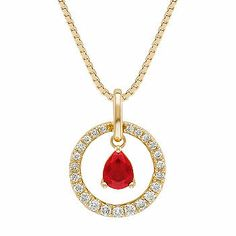 Pear Shaped Ruby and Diamond Pendant. This pendant features one beautiful pear shaped ruby at approximately .32 carat. Three round diamonds, at approximately .16 carat TW, make a sparkling circle around the ruby. The total gem weight is approximately .48 carat, and the pendant hangs from an 18-inch box chain, set in 14 karat yellow gold.
