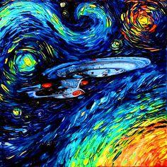 CANVAS Star Trek Art Starship Enterprise space print van Gogh Never Boldly Went art starry night Aja inches Vincent Van Gogh, Cultura Pop, Pintura Online, Wallpaper Star Trek, Wallpaper Art, Art Van, Arte Van Gogh, Arte Nerd, Starship Enterprise