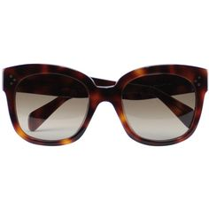 Céline New Audrey sunglasses ($347) ❤ liked on Polyvore featuring accessories, eyewear, sunglasses, glasses, lasit, occhiali, brown, celine glasses, brown sunglasses and brown glasses
