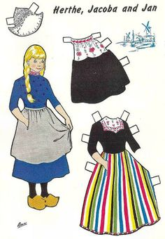 PAPER DOLLS FROM HOLLAND - Herthe, Jacobe and Jan from Jack and Jill Magazine, August 1953  (1 of 2)