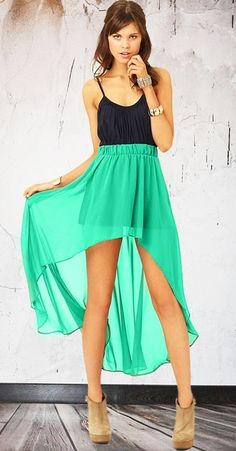 I want to wear something similar to this but Pink to Christina's wedding Mint High Low Skirt.