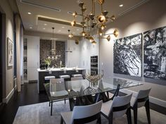 Fantastic table base! Glass top was a given to show off the base! - Dining Room Pictures From HGTV Urban Oasis 2014 on HGTV
