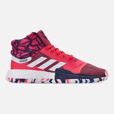 best authentic f3da0 d2f77 Right view of Mens adidas Marquee Boost Basketball Shoes in Shock  RedFootwear White