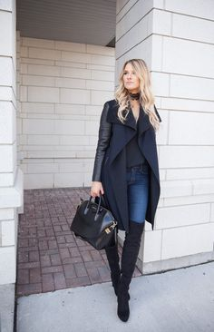 Mackage wool and leather coat, Givenchy Antigona bag, Sam Edelman Kent over the knee boots, crochet choker necklace