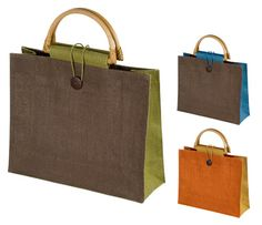 Jute bag with wooden handles
