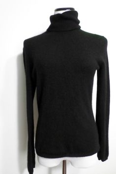 ANN TAYLOR Size M 100% Cashmere Sweater Black Turtleneck 2-Ply #AnnTaylor #TurtleneckMock