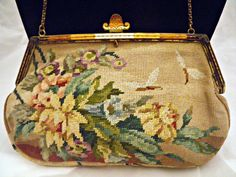 PRICE REDUCTION....Art Deco Petit Point Clutch Purse With Guilloche Enamel Frame by OneMinuteInTime on Etsy