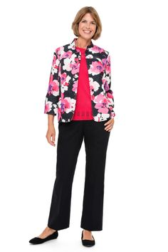 Play on Color floral print novelty jacket, solid texture sweater, and proportioned pant. #alfreddunner #floral #print #jacket #sweater #pants #blackpants #fashion #style #pink