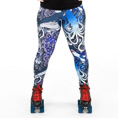 THE KRAKEN 100% polyester heavy weight 220gsm spandex, super stretchy fabric in Kraken sublimation print with elasticated waistband. Roller Derby Leggings. Roller Derby Clothing. Pole Leggings. Pole Fitness Leggings. Yoga Leggings. Alternative Leggings. Fitness Leggings. Roller Derby Shorts. Kraken Leggings. Octopus Leggings. Shark Leggings. Whale Leggings. Sea Leggings.