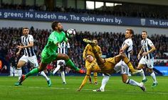 West Bromwich Albion goalkeeper Ben Foster dives to put off Dele Alli of Tottenham Hotspur as he shoots wide during the 1-1 draw at the Hawthorns. The draw ensures Spurs are unbeaten in their opening eight league matches of the season for the first time since 1990 Photo Kieran McManus