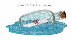 "Wens fles borduurwerk patch 3.3 ""breed/drijvende briefpapier sea/Kleding accessoires"