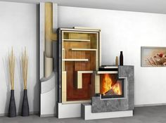 Masonry heater in Finland. Those Finns! So clever, and makers of truly beautiful stuff. Stove Heater, Stove Oven, Rocket Mass Heater, Freestanding Fireplace, Cooking Stove, Stove Fireplace, Rocket Stoves, Design Case, House Plans