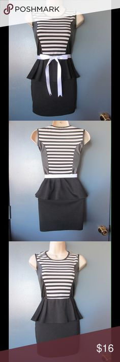 Divine Black Peplum Dress W/White Stripes & Belt Almost New. This dress is really cute and adorable. Belts included. Gorgeous colors combination and style. Size XSmall Petite. Negotiable Price. Dresses Mini