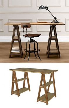 I actually really like this look. I don't know if I would do this exactly, but something similar. DIY Sawhorse Desks Inspired by Restoration Hardware