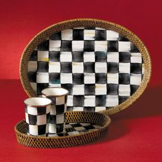 MacKenzie-Childs | Courtly Check Rattan & Enamel Tray - Large