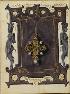 1550s: Large cross with 4 side pearls and pearl drop. Jewel Book of the Duchess Anna of Bavaria