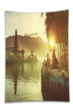 Interestlee Satin drill Tablecloth?Landscape Pura Ulun Danu Temple Bali Indonesia Asian River Traditional Religious Landmark Yellow Green Dining Room Kitchen Rectangular Table Cover Home Decor