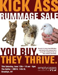 Great yard sale poster for a good cause! Empty Cages Collective Rummage Sale | Greenpointers