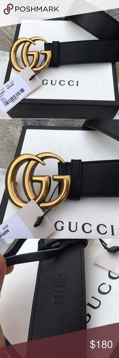 Spotted while shopping on Poshmark: NEW Gucci Black Leather Belt GOLD GG Buckle! #poshmark #fashion #shopping #style #Gucci #Other