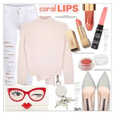 """""""Cool Coral Lips"""" by mycherryblossom ❤ liked on Polyvore featuring Herbivore Botanicals, Alexander McQueen, Sisley, NYX, Kate Spade, Alexander Wang, women's clothing, women, female and woman"""
