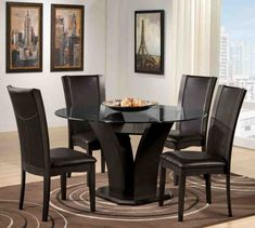Manhattan Dark Cherry Finish Glass Top 7-Piece Dining Table Set ...