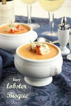 Easy To Make And Surprisingly Inexpensive, This Lobster Bisque Is Perfect To Celebrate Your Valentine This Year. The Suburban Soapbox Lobster Bisque Recipe, Seafood Bisque, Seafood Stew, Seafood Dishes, Fish And Seafood, Crab Bisque, Fish Dishes, Lobster Recipes, Seafood Recipes