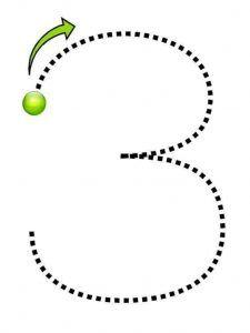 Číslo tři trasování bez-tisknutelné-listy