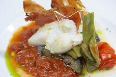 Lomos de bacalao confitado en Aceite de La Rioja sobre cama de verduras a la parrilla