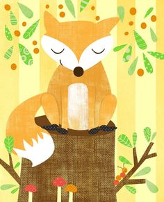 Woodland Series Fox Print $22 #fox #nursery #woodland #illustration #texture #pattner #mushrooms #caterpillar #leaves #tree #stump #series #baby
