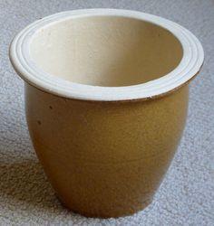 Mustard coloured glazed clay plant pot. Height - 14 cm. | eBay!