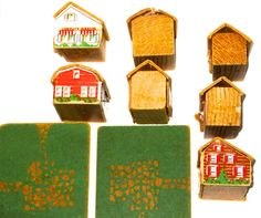 Vintage lot of 8 wood and cardboard houses building blocks play village with 2 wood yards decor display collection re purpose
