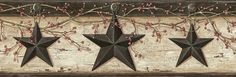 """Pure Country Ennis Rustic Barn Star 15' x 6"""" Floral 3D Embossed Border Wallpaper"""