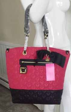 Betsey Johnson WILL YOU BE MINE Tote BJ22735 Quilted Hearts, BOW! Pink/Black #BetseyJohnson #TotesShoppers