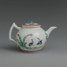 Chantilly | Teapot with storks | French, Chantilly | The Met