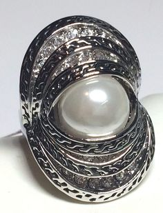 Silver Art Deco Pearl Cocktail Ring Chunky RhodiumPlated Cubic Zirconia Size 6 8 #Unbranded #Cocktail