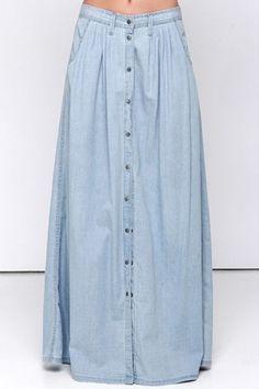 Women's Fashion Single Breasted High Rise Basic Denim Maxi Skirt