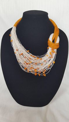 Items similar to Linen thread necklace on Etsy Hemp Jewelry, Fashion Jewelry Necklaces, Handmade Necklaces, Boho Jewelry, Jewelry Crafts, Beaded Jewelry, Handmade Jewelry, Beaded Bracelets, Fabric Necklace
