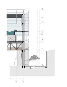 Centro Deportivo Universidad de los Andes,Corte por Fachada AA Architecture Model Making, Architecture Drawings, Sports Complex, Architectural Section, Portfolio Design, Layout Design, House Plans, Floor Plans, Loft