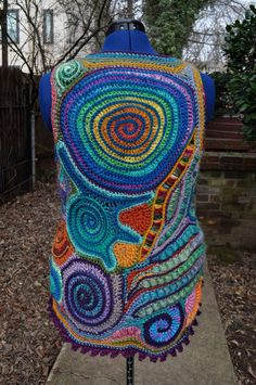 Bright Side of the Rainbow Freeform Crochet Vest