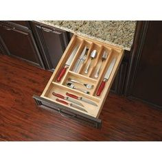 Organize kitchen drawers with wood cutlery tray insert. The tray insert series is made of classic maple hardwood with a UV cured clear finish to ensure an acceptable match to any kitchen Diy Drawers, Kitchen Drawers, Kitchen Storage, Kitchen Utensils, Kitchen Drawer Inserts, Kitchen Cabinets, Cabinet Storage, Food Storage, Utensil Drawer Organization