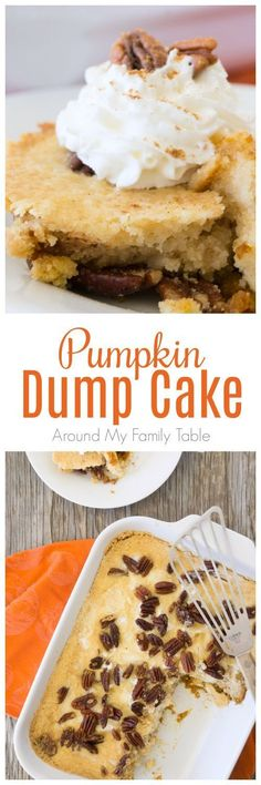 There is so much pumpkin flavor in this easy Pumpkin Dump Cake recipe that uses your favorite boxed cake mix. Dump Cake Recipes, Dessert Recipes, Dump Cakes, Dairy Free Thanksgiving Recipes, Thanksgiving Ideas, Just Desserts, Delicious Desserts, Fall Desserts, Brownies
