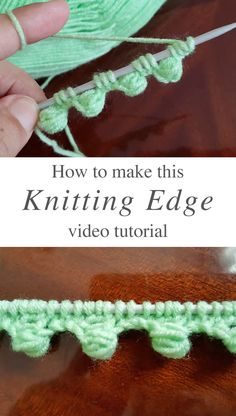 Diy Crafts - Knitting Edge - This beautiful knitting edge is a popular project because it beautifies objects and accessories. Diy Crafts Knitting, Loom Knitting Projects, Knitting Videos, Easy Knitting, Baby Knitting Patterns, Knitting Stitches, Knitting Needles, Knitting Wool, Mode Crochet