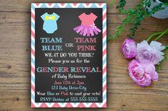 Gender Reveal baby Shower Party Invitation-Team Pink or Team Blue -SET OF 10